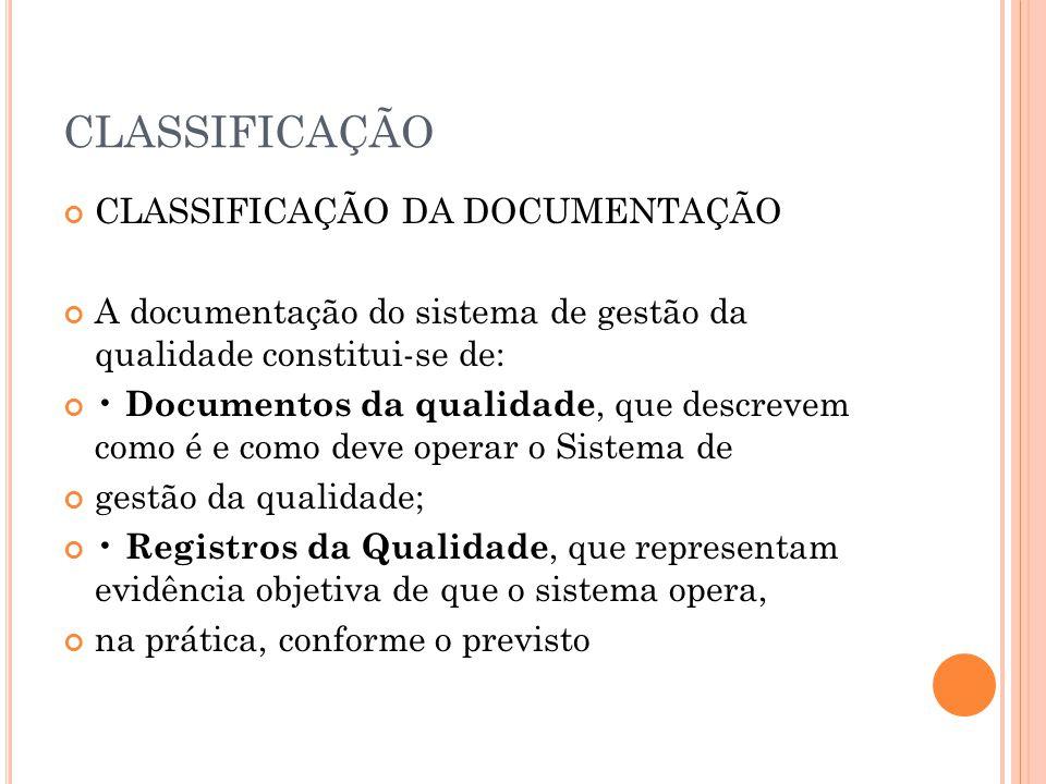 CLASSIFICAÇÃO CLASSIFICAÇÃO DA DOCUMENTAÇÃO A documentação do sistema de gestão da qualidade constitui-se de: Documentos da qualidade, que descrevem c