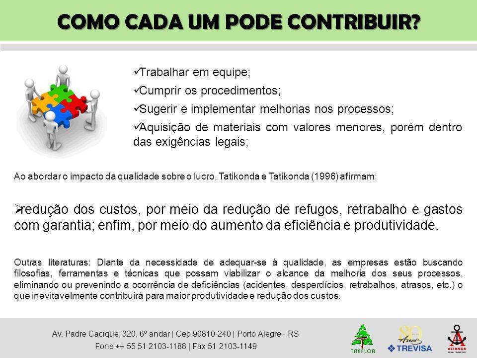 COMO CADA UM PODE CONTRIBUIR? Av. Padre Cacique, 320, 6º andar   Cep 90810-240   Porto Alegre - RS Fone ++ 55 51 2103-1188   Fax 51 2103-1149 Trabalha
