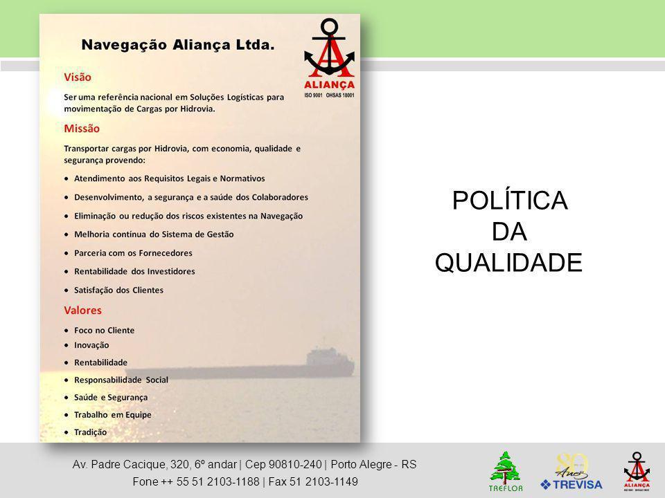 Av. Padre Cacique, 320, 6º andar   Cep 90810-240   Porto Alegre - RS Fone ++ 55 51 2103-1188   Fax 51 2103-1149 POLÍTICA DA QUALIDADE