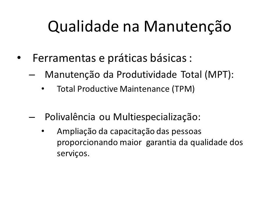 Qualidade na Manutenção Ferramentas e práticas básicas : – Manutenção da Produtividade Total (MPT): Total Productive Maintenance (TPM) – Polivalência
