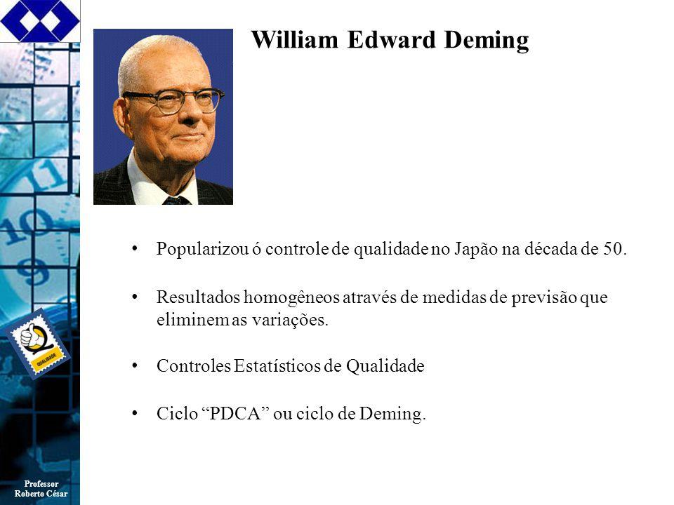 Professor Roberto César William Edward Deming Popularizou ó controle de qualidade no Japão na década de 50.