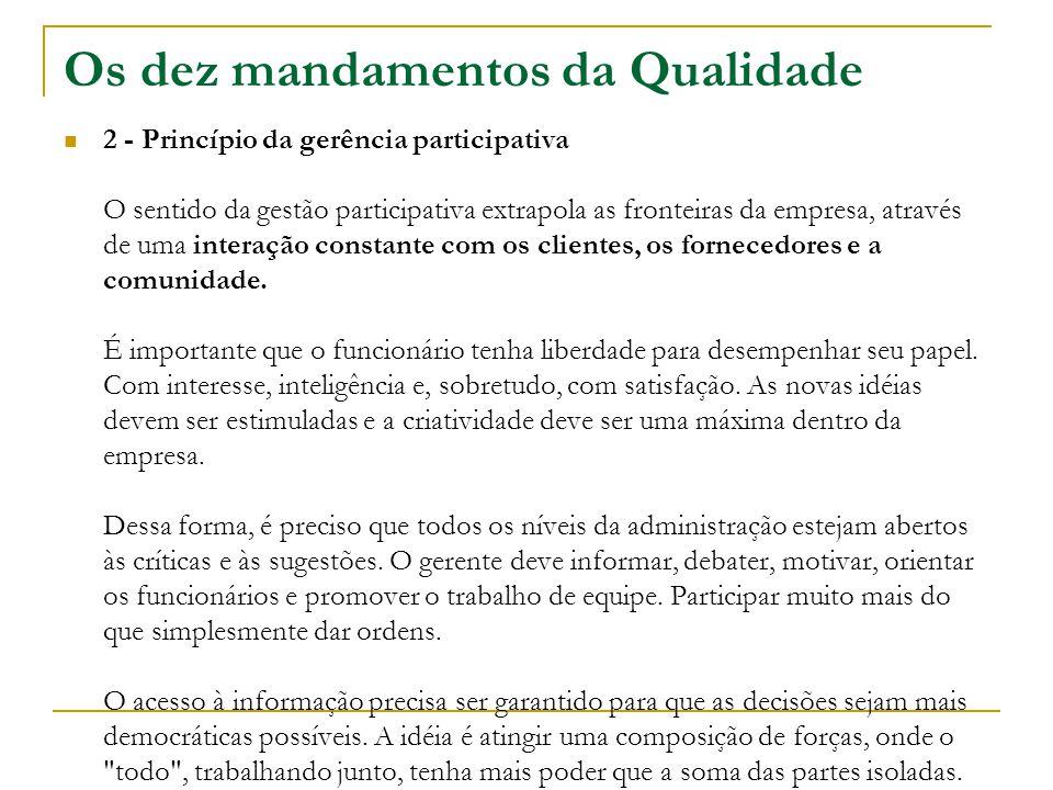 Os dez mandamentos da Qualidade 2 - Princípio da gerência participativa O sentido da gestão participativa extrapola as fronteiras da empresa, através