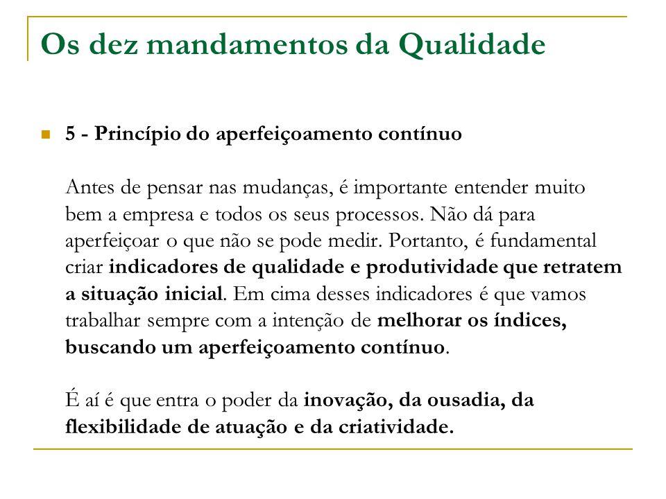 Os dez mandamentos da Qualidade 5 - Princípio do aperfeiçoamento contínuo Antes de pensar nas mudanças, é importante entender muito bem a empresa e to