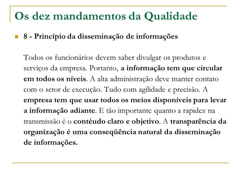 Os dez mandamentos da Qualidade 8 - Princípio da disseminação de informações Todos os funcionários devem saber divulgar os produtos e serviços da empr