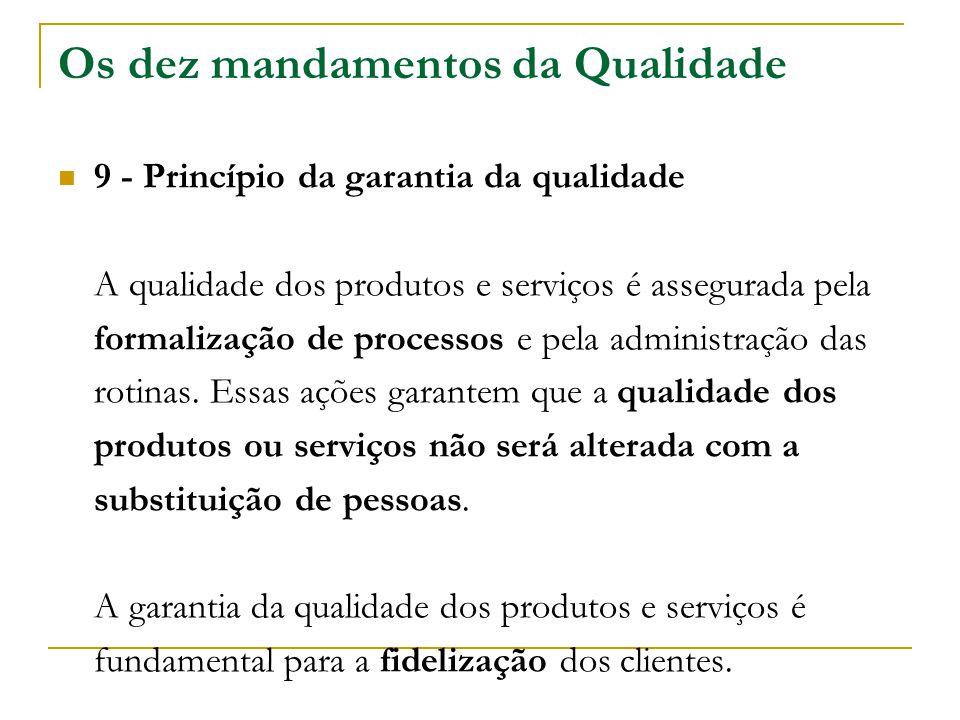 Os dez mandamentos da Qualidade 9 - Princípio da garantia da qualidade A qualidade dos produtos e serviços é assegurada pela formalização de processos