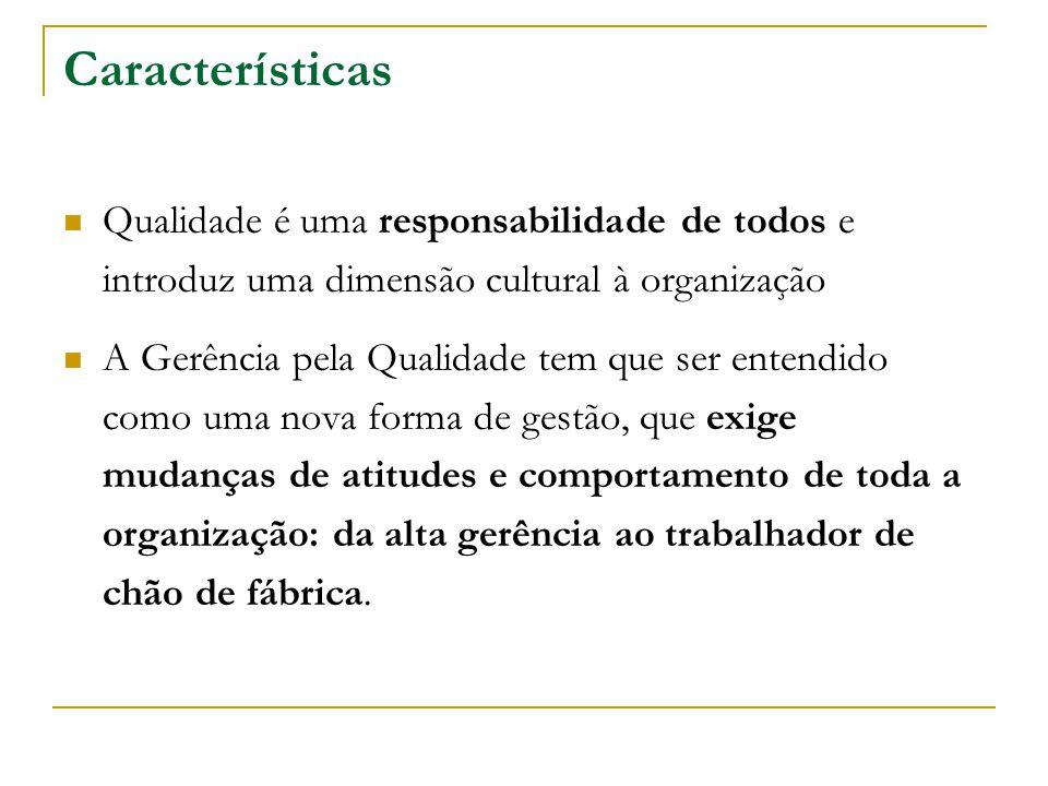 Características Qualidade é uma responsabilidade de todos e introduz uma dimensão cultural à organização A Gerência pela Qualidade tem que ser entendi