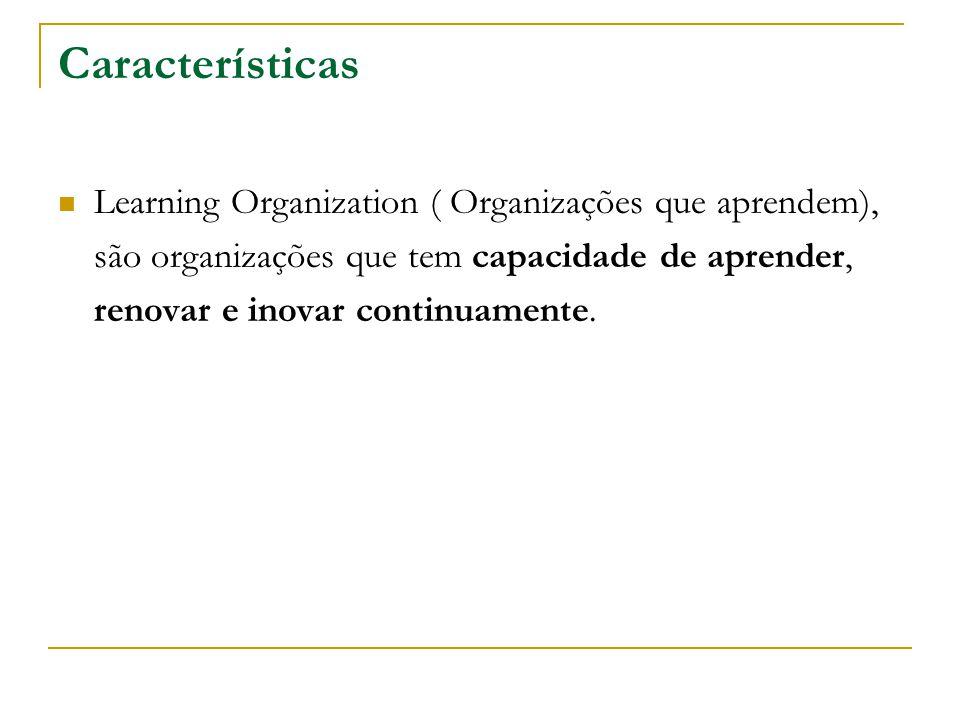 Características Learning Organization ( Organizações que aprendem), são organizações que tem capacidade de aprender, renovar e inovar continuamente.