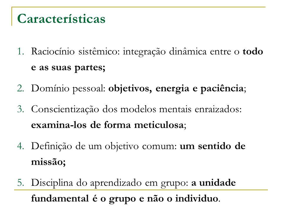 Características 1.Raciocínio sistêmico: integração dinâmica entre o todo e as suas partes; 2.Domínio pessoal: objetivos, energia e paciência; 3.Consci