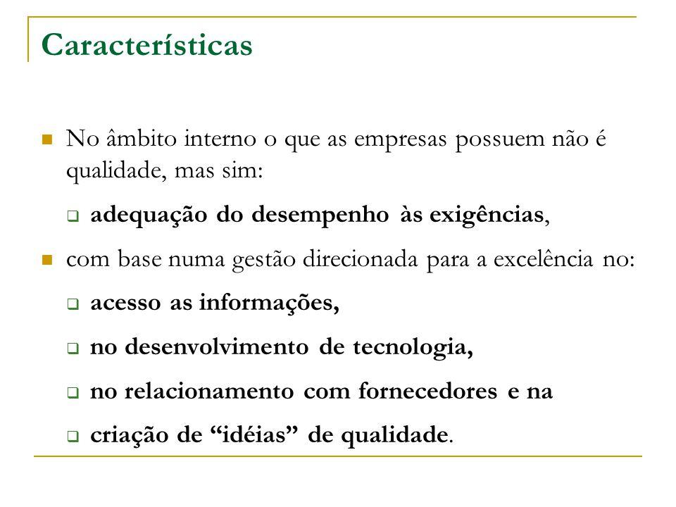 Características No âmbito interno o que as empresas possuem não é qualidade, mas sim:  adequação do desempenho às exigências, com base numa gestão di