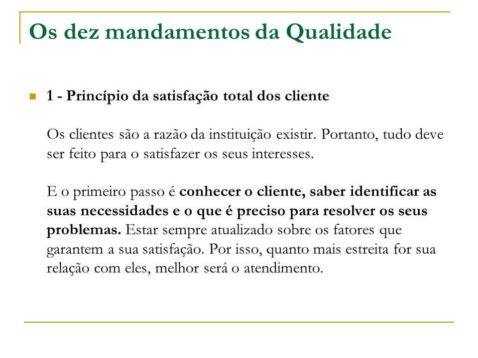 Os dez mandamentos da Qualidade 1 - Princípio da satisfação total dos cliente Os clientes são a razão da instituição existir. Portanto, tudo deve ser