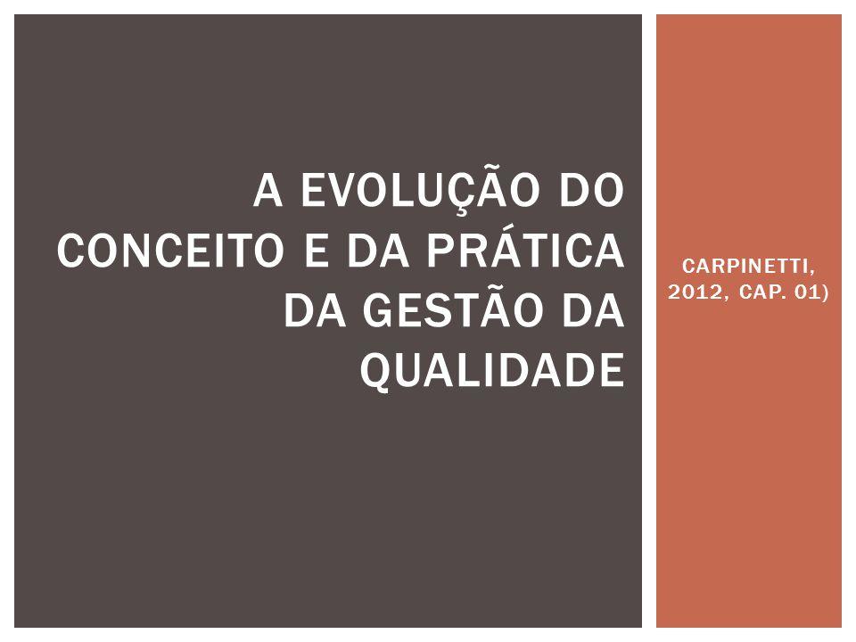 CARPINETTI, 2012, CAP. 01) A EVOLUÇÃO DO CONCEITO E DA PRÁTICA DA GESTÃO DA QUALIDADE