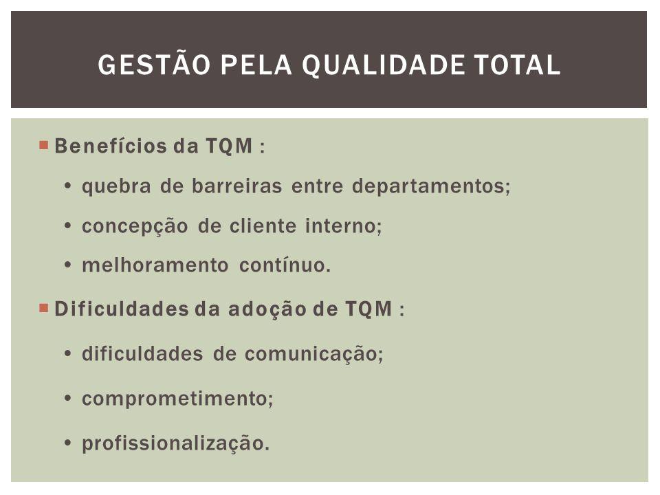  Benefícios da TQM : quebra de barreiras entre departamentos; concepção de cliente interno; melhoramento contínuo.