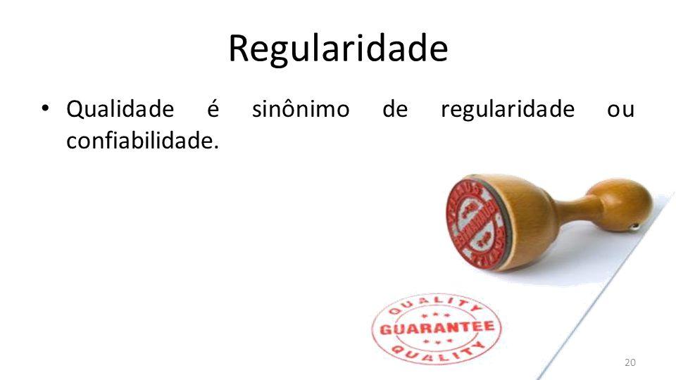 Regularidade Qualidade é sinônimo de regularidade ou confiabilidade. 20