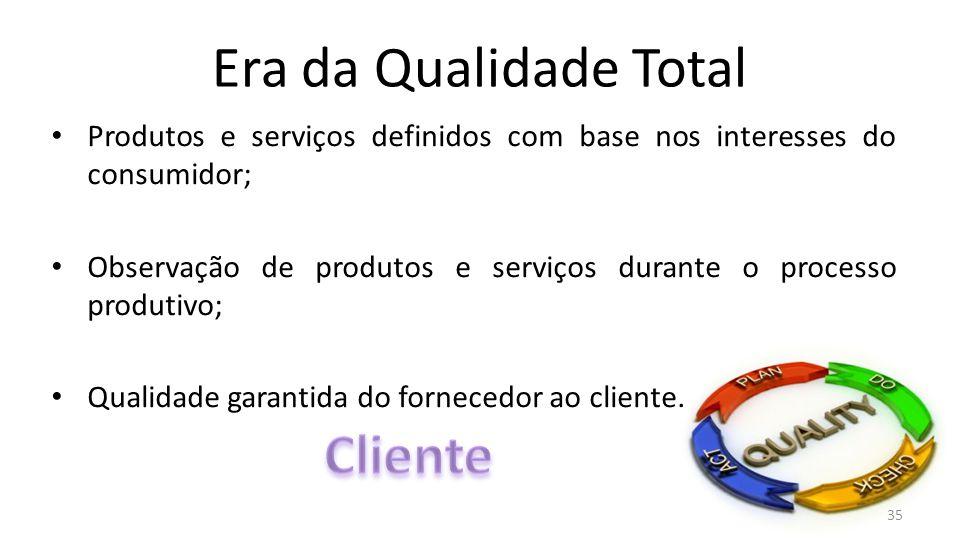 Era da Qualidade Total Produtos e serviços definidos com base nos interesses do consumidor; Observação de produtos e serviços durante o processo produtivo; Qualidade garantida do fornecedor ao cliente.