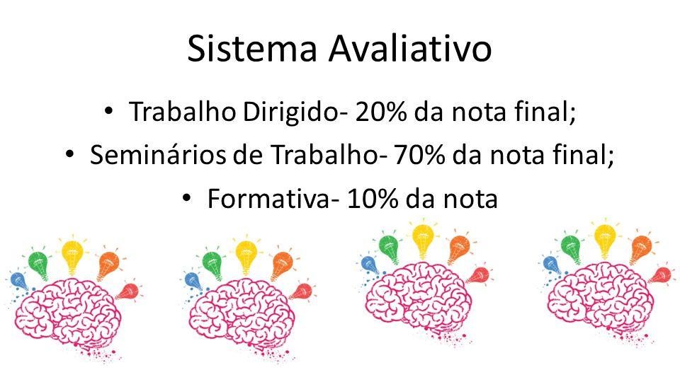 Sistema Avaliativo Trabalho Dirigido- 20% da nota final; Seminários de Trabalho- 70% da nota final; Formativa- 10% da nota