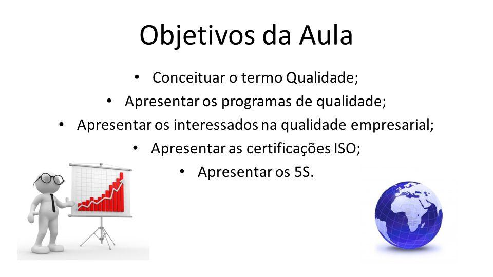 Objetivos da Aula Conceituar o termo Qualidade; Apresentar os programas de qualidade; Apresentar os interessados na qualidade empresarial; Apresentar as certificações ISO; Apresentar os 5S.