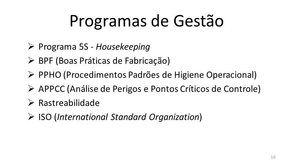  Programa 5S - Housekeeping  BPF (Boas Práticas de Fabricação)  PPHO (Procedimentos Padrões de Higiene Operacional)  APPCC (Análise de Perigos e Pontos Críticos de Controle)  Rastreabilidade  ISO (International Standard Organization) Programas de Gestão 59