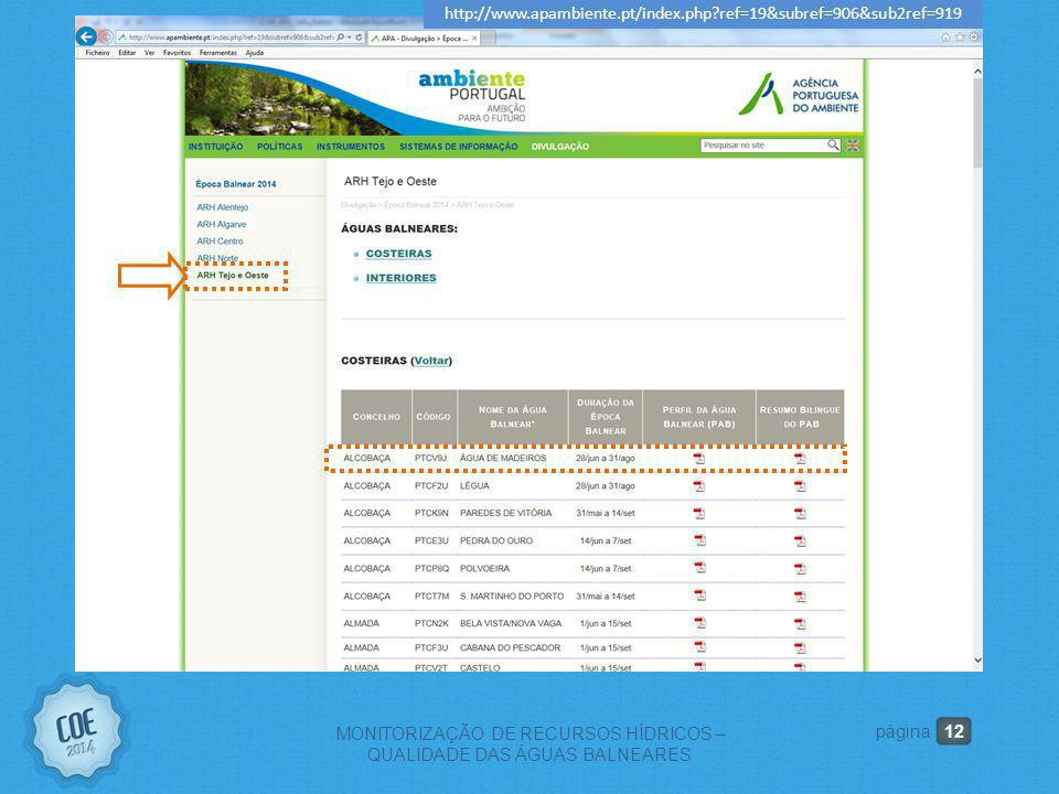 12 MONITORIZAÇÃO DE RECURSOS HÍDRICOS – QUALIDADE DAS ÁGUAS BALNEARES página http://www.apambiente.pt/index.php?ref=19&subref=906&sub2ref=919