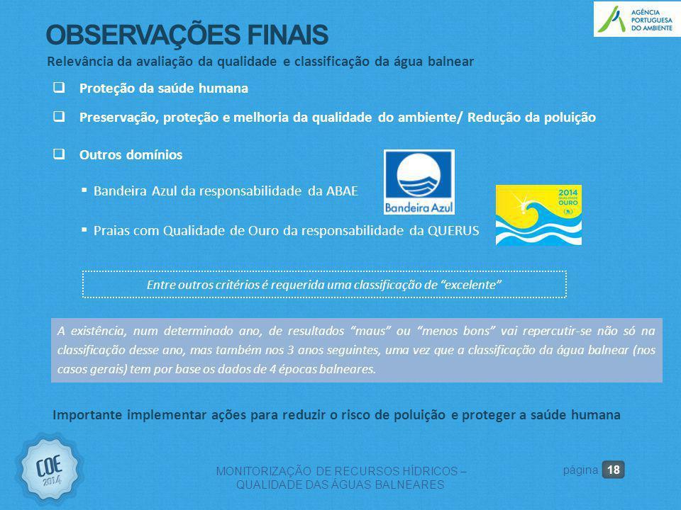 18 MONITORIZAÇÃO DE RECURSOS HÍDRICOS – QUALIDADE DAS ÁGUAS BALNEARES página Relevância da avaliação da qualidade e classificação da água balnear  Ou