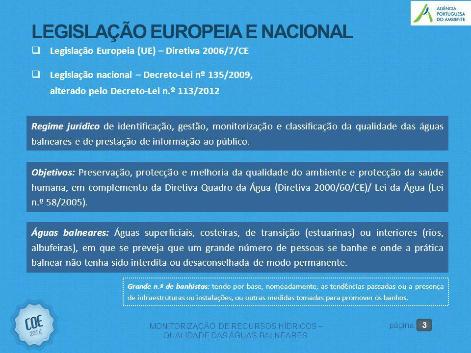 3 MONITORIZAÇÃO DE RECURSOS HÍDRICOS – QUALIDADE DAS ÁGUAS BALNEARES página LEGISLAÇÃO EUROPEIA E NACIONAL  Legislação Europeia (UE) – Diretiva 2006/7/CE  Legislação nacional – Decreto-Lei nº 135/2009, alterado pelo Decreto-Lei n.º 113/2012 Objetivos: Preservação, protecção e melhoria da qualidade do ambiente e protecção da saúde humana, em complemento da Diretiva Quadro da Água (Diretiva 2000/60/CE)/ Lei da Água (Lei n.º 58/2005).