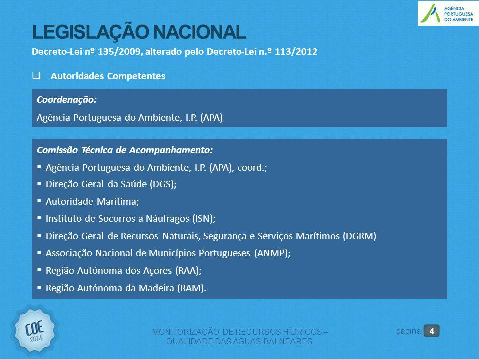 4 MONITORIZAÇÃO DE RECURSOS HÍDRICOS – QUALIDADE DAS ÁGUAS BALNEARES página LEGISLAÇÃO NACIONAL Decreto-Lei nº 135/2009, alterado pelo Decreto-Lei n.º 113/2012  Autoridades Competentes Coordenação: Agência Portuguesa do Ambiente, I.P.