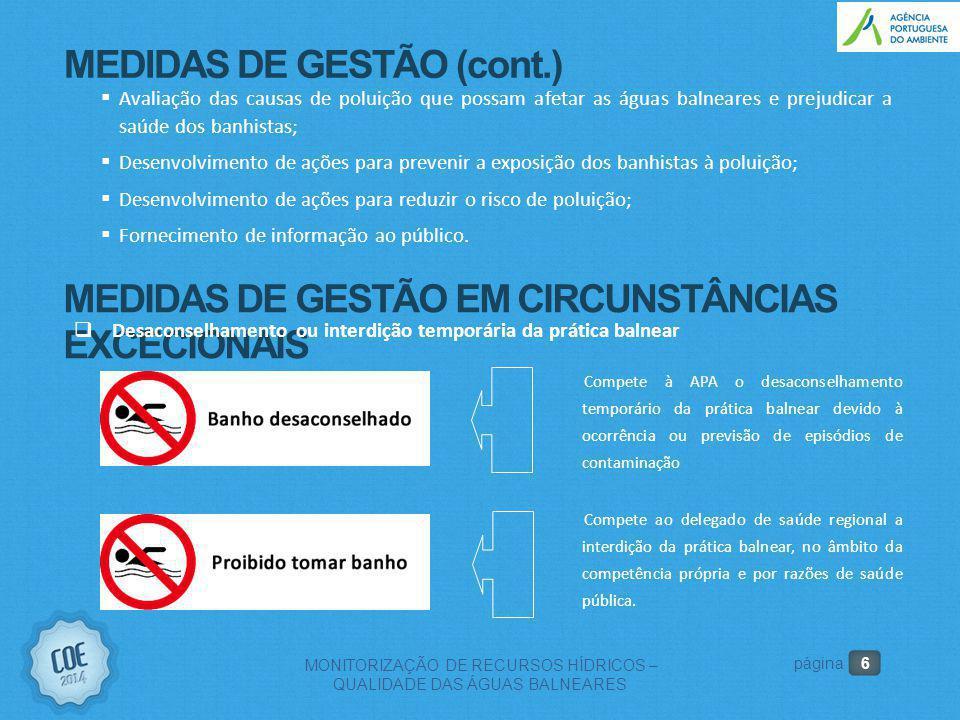 6 MONITORIZAÇÃO DE RECURSOS HÍDRICOS – QUALIDADE DAS ÁGUAS BALNEARES página MEDIDAS DE GESTÃO (cont.)  Avaliação das causas de poluição que possam af
