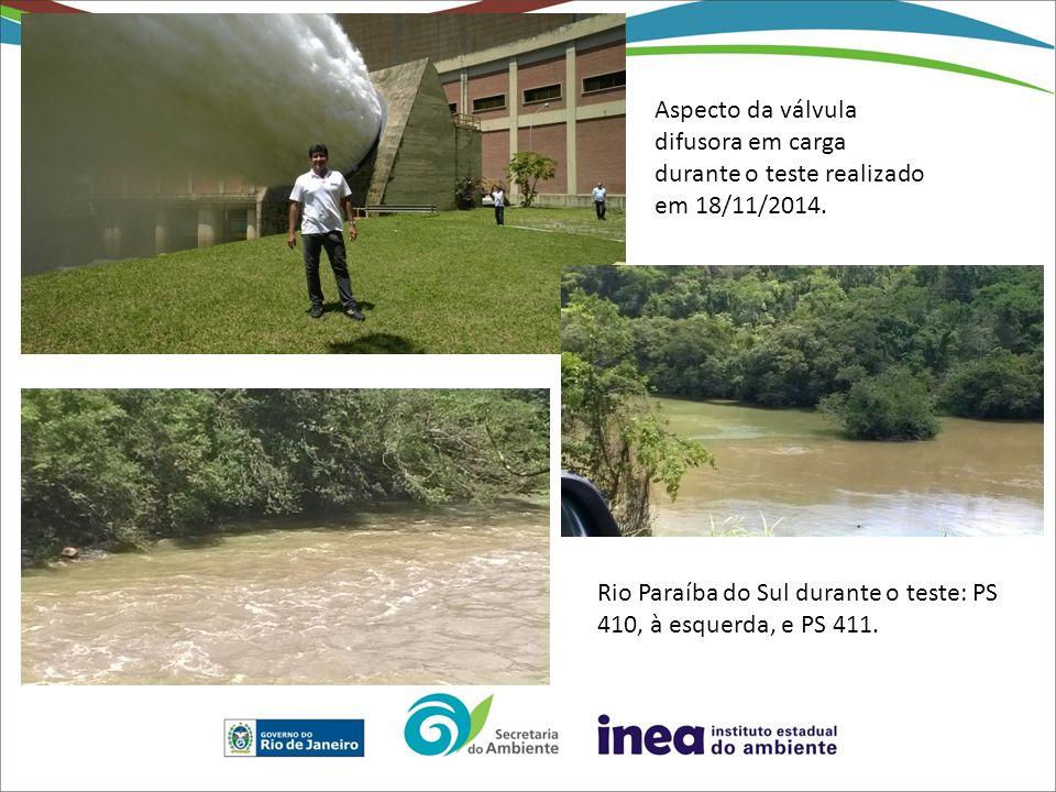 Aspecto da válvula difusora em carga durante o teste realizado em 18/11/2014. Rio Paraíba do Sul durante o teste: PS 410, à esquerda, e PS 411.