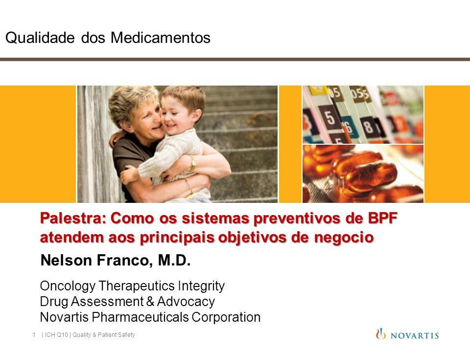 Qualidade dos Medicamentos | ICH Q10 | Quality & Patient Safety1 Palestra: Como os sistemas preventivos de BPF atendem aos principais objetivos de negocio Nelson Franco, M.D.