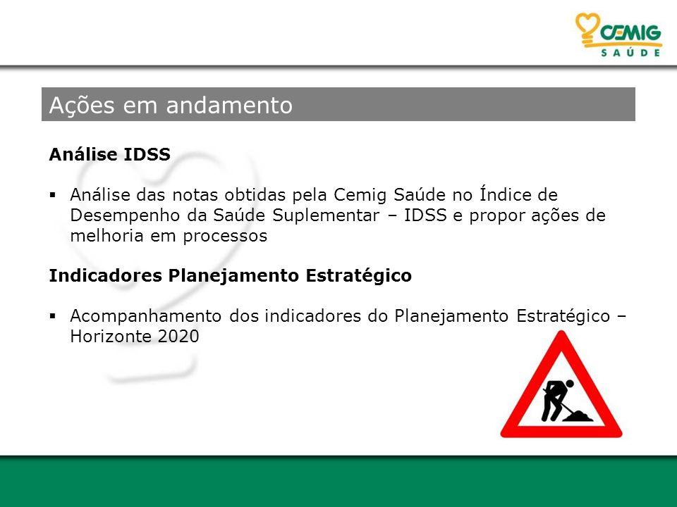 Análise IDSS  Análise das notas obtidas pela Cemig Saúde no Índice de Desempenho da Saúde Suplementar – IDSS e propor ações de melhoria em processos Ações em andamento Indicadores Planejamento Estratégico  Acompanhamento dos indicadores do Planejamento Estratégico – Horizonte 2020