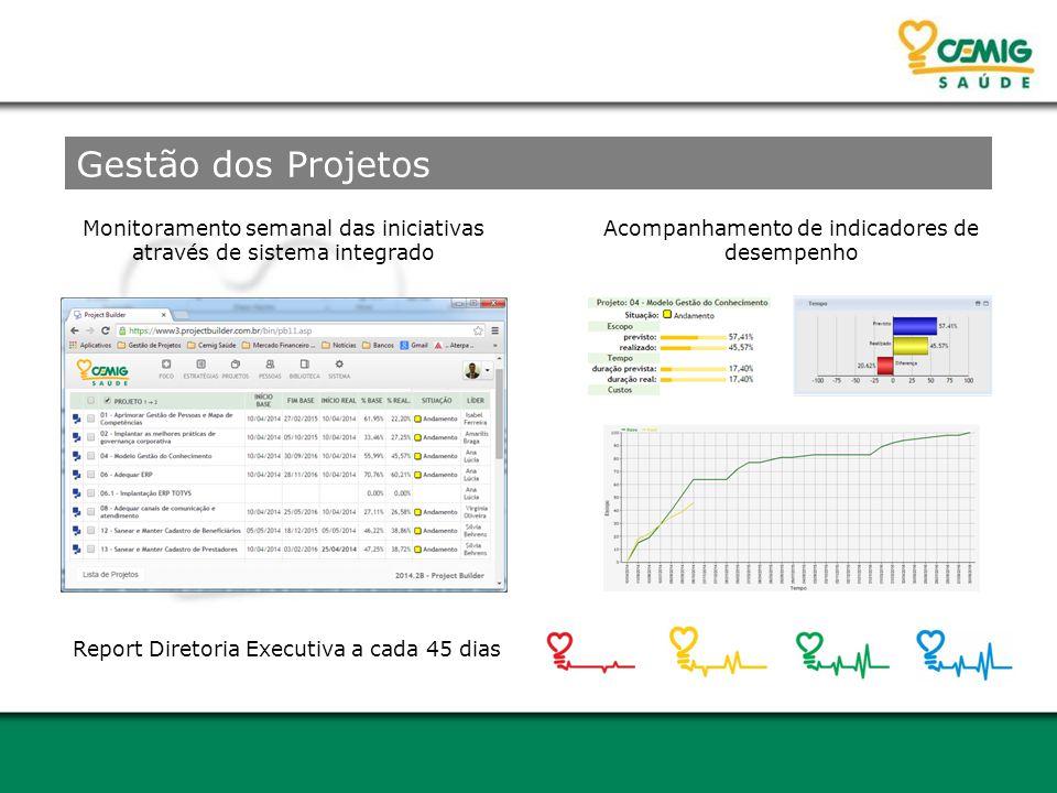 Monitoramento semanal das iniciativas através de sistema integrado Acompanhamento de indicadores de desempenho Report Diretoria Executiva a cada 45 dias