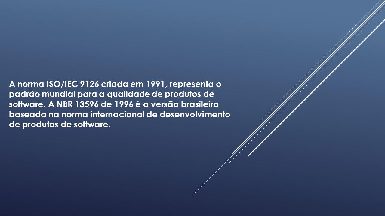 A norma ISO/IEC 9126 criada em 1991, representa o padrão mundial para a qualidade de produtos de software.