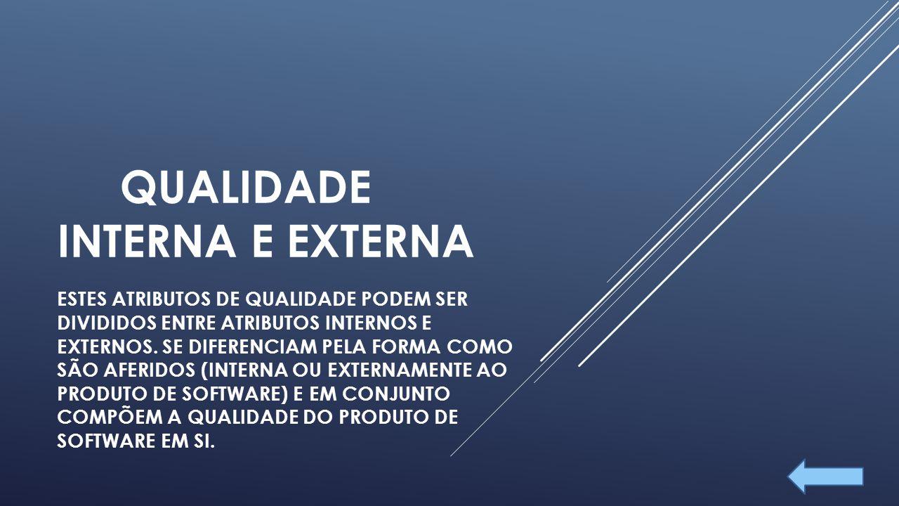 QUALIDADE INTERNA E EXTERNA ESTES ATRIBUTOS DE QUALIDADE PODEM SER DIVIDIDOS ENTRE ATRIBUTOS INTERNOS E EXTERNOS.
