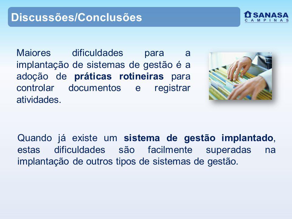 Discussões/Conclusões Maiores dificuldades para a implantação de sistemas de gestão é a adoção de práticas rotineiras para controlar documentos e registrar atividades.