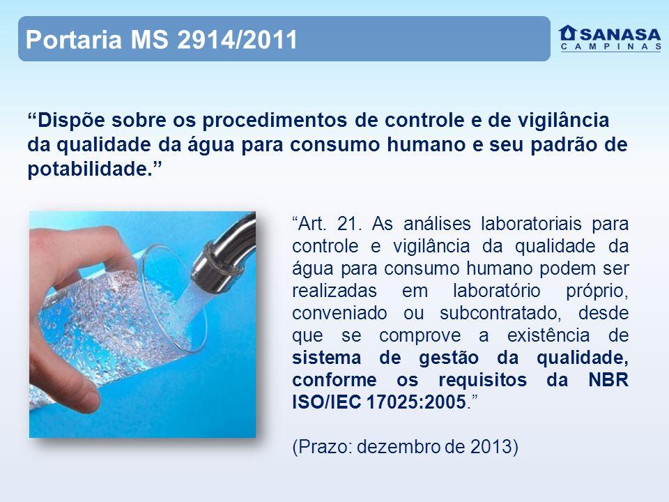 Portaria MS 2914/2011 Art.21.