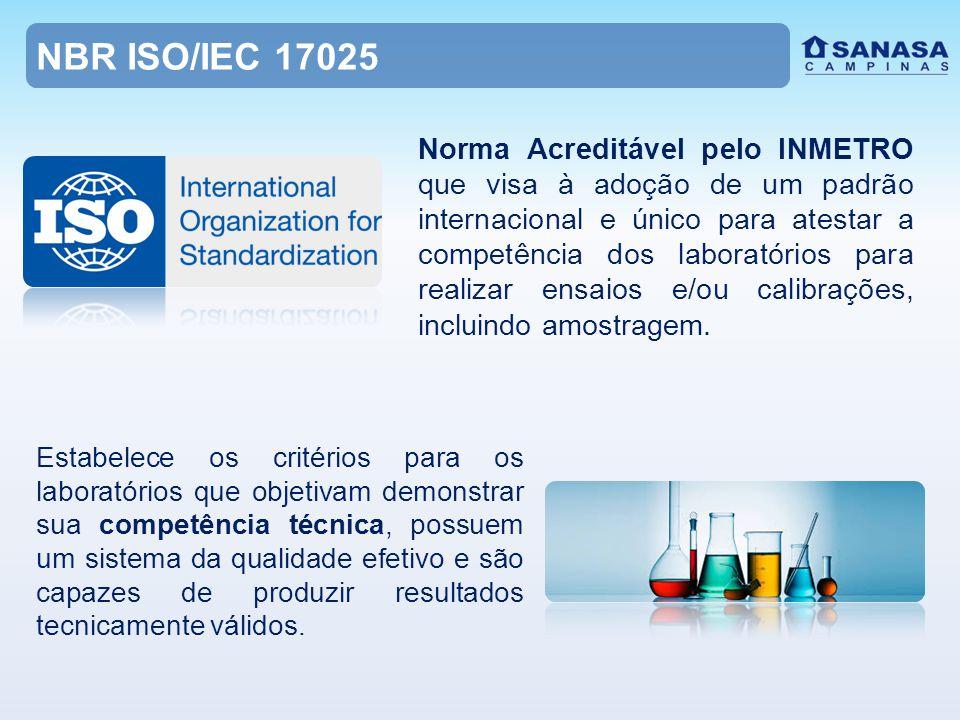 NBR ISO/IEC 17025 Norma Acreditável pelo INMETRO que visa à adoção de um padrão internacional e único para atestar a competência dos laboratórios para realizar ensaios e/ou calibrações, incluindo amostragem.