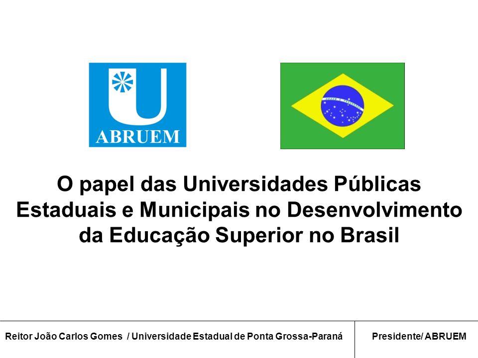 O papel das Universidades Públicas Estaduais e Municipais no Desenvolvimento da Educação Superior no Brasil Reitor João Carlos Gomes / Universidade Estadual de Ponta Grossa-ParanáPresidente/ ABRUEM