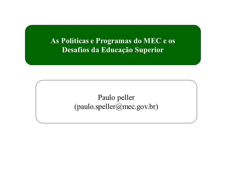 As Políticas e Programas do MEC e os Desafios da Educação Superior Paulo peller (paulo.speller@mec.gov.br)