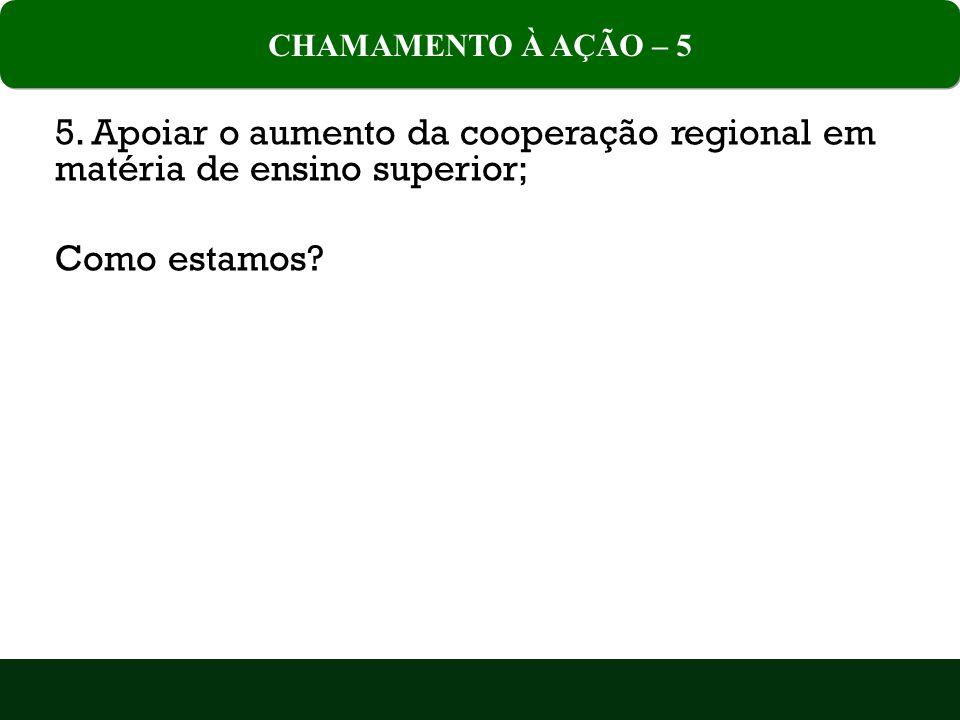 5.Apoiar o aumento da cooperação regional em matéria de ensino superior; Como estamos.