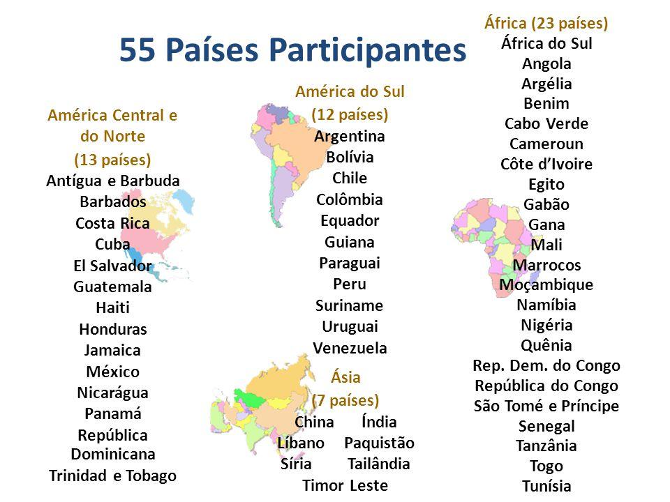 África (23 países) África do Sul Angola Argélia Benim Cabo Verde Cameroun Côte d'Ivoire Egito Gabão Gana Mali Marrocos Moçambique Namíbia Nigéria Quênia Rep.