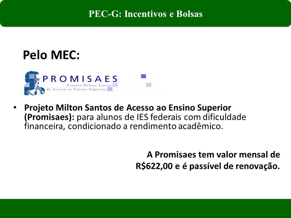 Projeto Milton Santos de Acesso ao Ensino Superior (Promisaes): para alunos de IES federais com dificuldade financeira, condicionado a rendimento acadêmico.