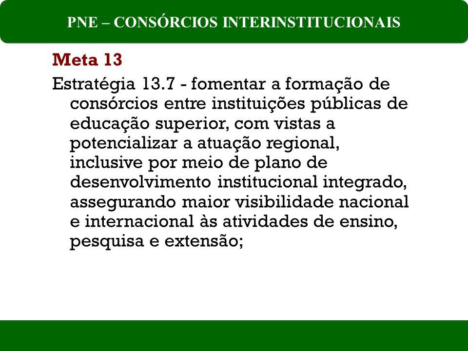 Meta 13 Estratégia 13.7 - fomentar a formação de consórcios entre instituições públicas de educação superior, com vistas a potencializar a atuação regional, inclusive por meio de plano de desenvolvimento institucional integrado, assegurando maior visibilidade nacional e internacional às atividades de ensino, pesquisa e extensão; PNE – CONSÓRCIOS INTERINSTITUCIONAIS