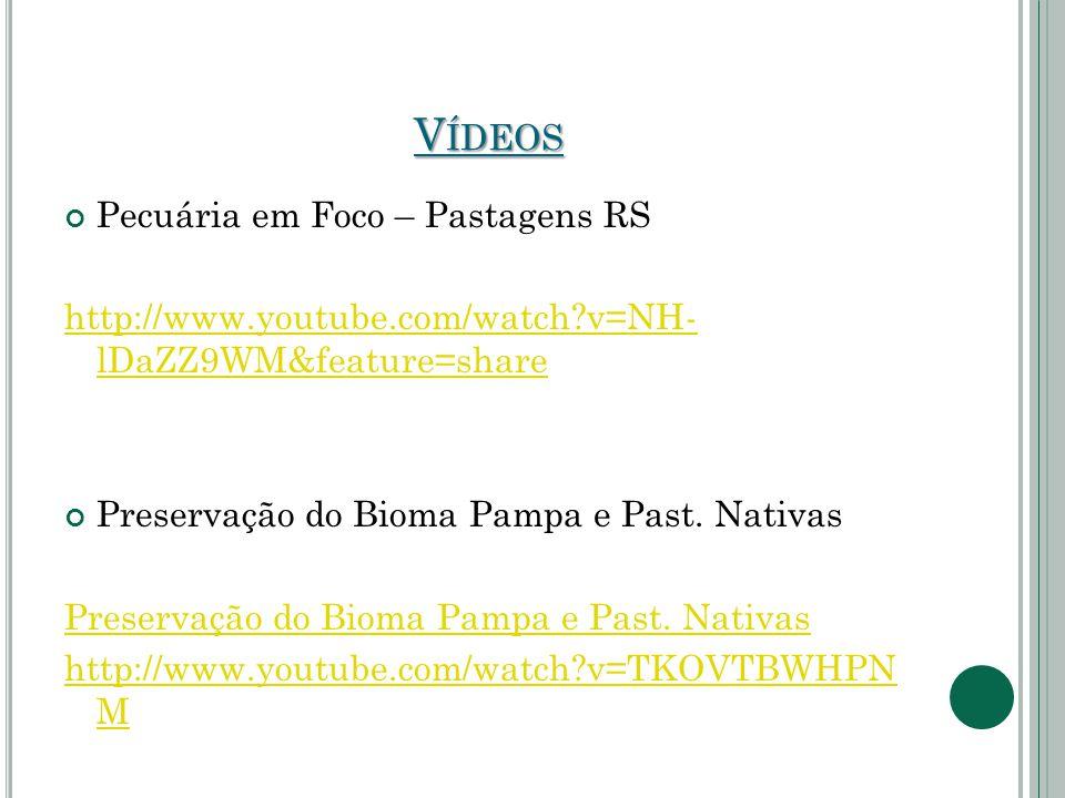 V ÍDEOS Pecuária em Foco – Pastagens RS http://www.youtube.com/watch?v=NH- lDaZZ9WM&feature=share Preservação do Bioma Pampa e Past. Nativas Preservaç