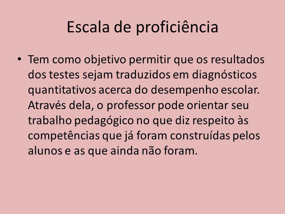 Escala de proficiência Tem como objetivo permitir que os resultados dos testes sejam traduzidos em diagnósticos quantitativos acerca do desempenho escolar.