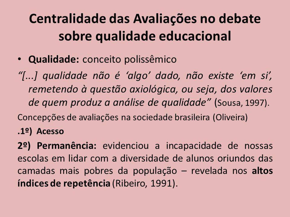 Centralidade das Avaliações no debate sobre qualidade educacional Qualidade: conceito polissêmico [...] qualidade não é 'algo' dado, não existe 'em si', remetendo à questão axiológica, ou seja, dos valores de quem produz a análise de qualidade ( Sousa, 1997).