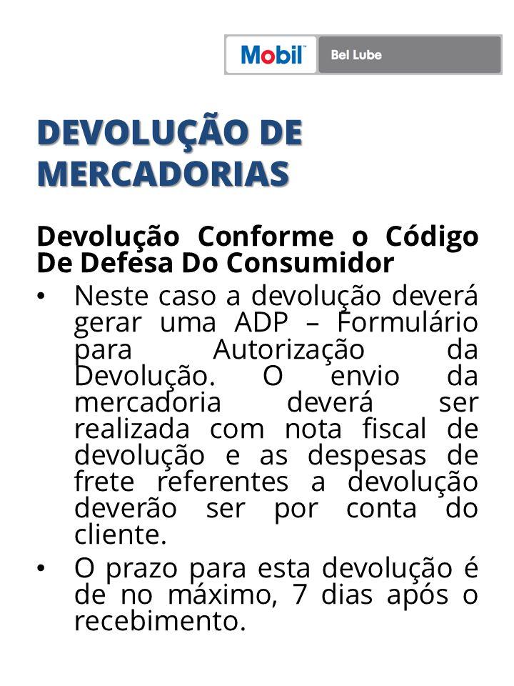 DEVOLUÇÃO DE MERCADORIAS Devolução Conforme o Código De Defesa Do Consumidor Neste caso a devolução deverá gerar uma ADP – Formulário para Autorização