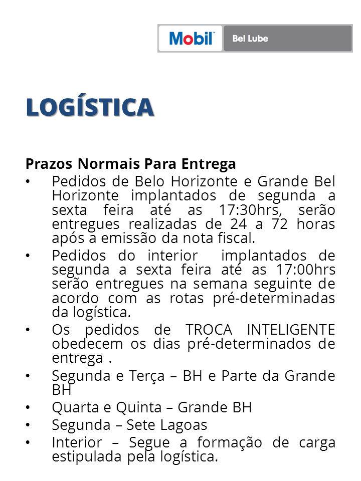 LOGÍSTICA Prazos Normais Para Entrega Pedidos de Belo Horizonte e Grande Bel Horizonte implantados de segunda a sexta feira até as 17:30hrs, serão ent