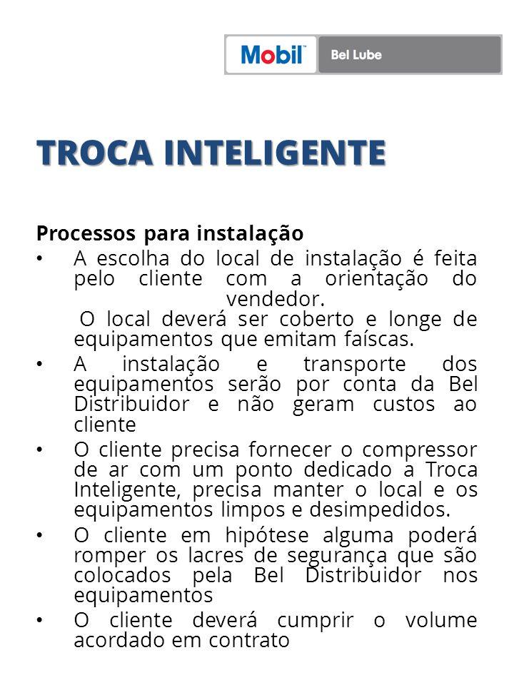TROCA INTELIGENTE Processos para instalação A escolha do local de instalação é feita pelo cliente com a orientação do vendedor. O local deverá ser cob