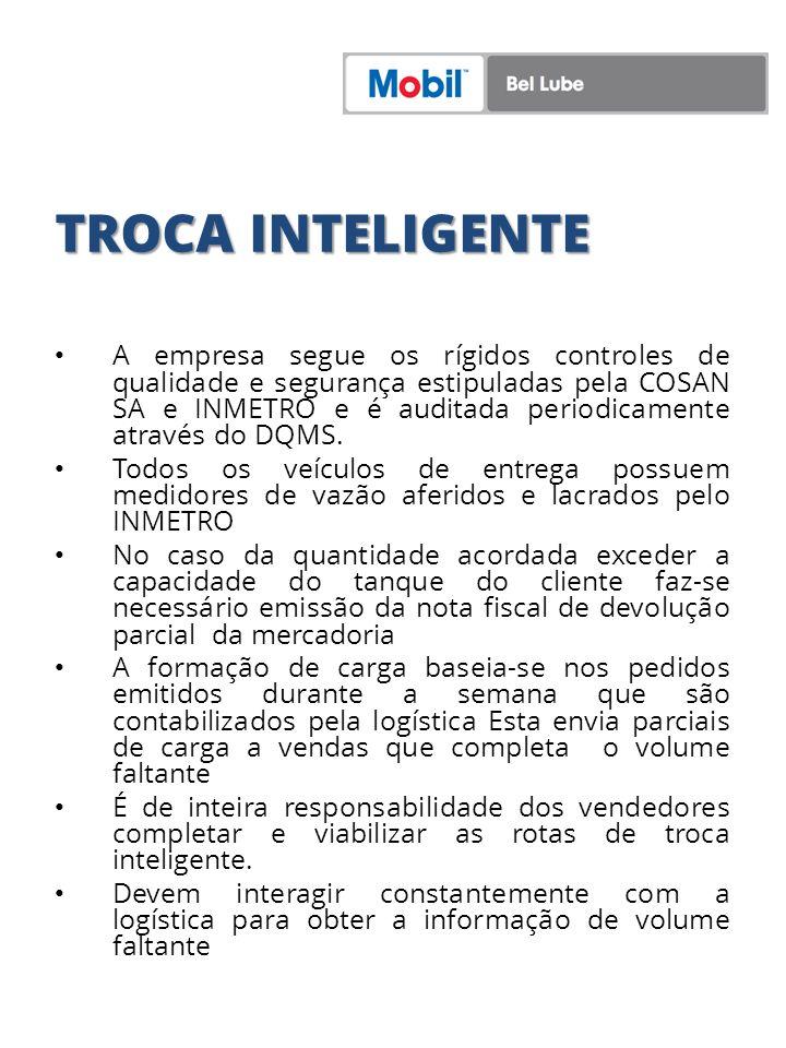 TROCA INTELIGENTE A empresa segue os rígidos controles de qualidade e segurança estipuladas pela COSAN SA e INMETRO e é auditada periodicamente atravé