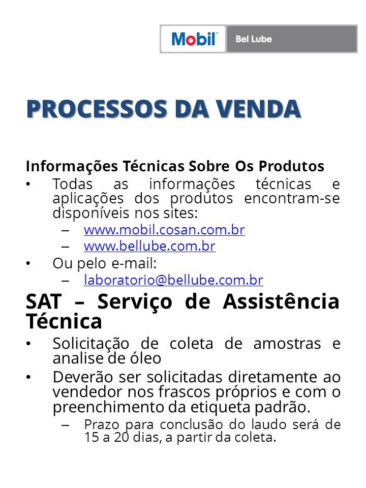 PROCESSOS DA VENDA Informações Técnicas Sobre Os Produtos Todas as informações técnicas e aplicações dos produtos encontram-se disponíveis nos sites: