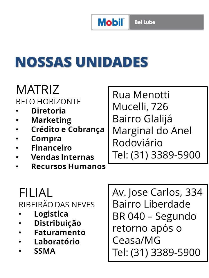 MATRIZ BELO HORIZONTE Diretoria Marketing Crédito e Cobrança Compra Financeiro Vendas Internas Recursos Humanos Rua Menotti Mucelli, 726 Bairro Glalij